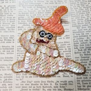 1950s vintage ghost sparkly sequin patch!
